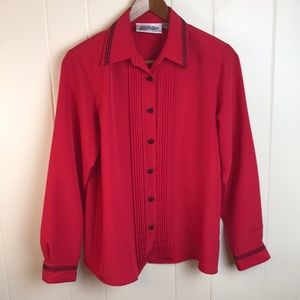 Vintage 70s/80s Red Black Button Down Career Top